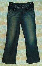 BLACK PVC Jeweled Pockets LOW Flare Leg Thick Insulated COLD Weather JEANS! S