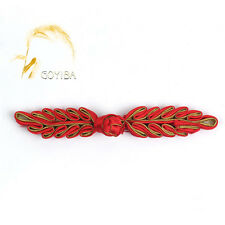 5 Pair Handmade Red Leaf Chinese Dress Frog Closure Knot Buttons Ribbon Fastener