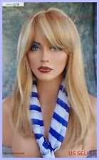 PREMIUM HUMAN HAIR MONOPART WIG *F27.613 SLINKY GIRL NEXT DOOR LOOK W/ BANGS 493