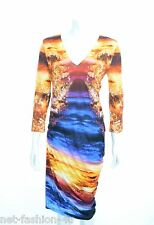 MCQ BY ALEXANDER McQUEEN MINERAL PRINT S-BEND JERSEY DRESS SIZE L BNWT