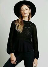 NWOT Free People Black English Rose Swit Size XS Retails for $98