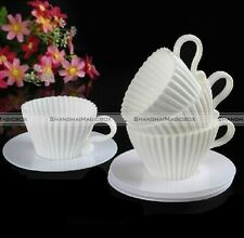 Set of 4 Silicone Cupcake Cups Cake Mould Tea Cup Saucers Baking Muffin Mold S1