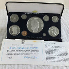Panamá 1975 9 Moneda Proof Set Con 20 Balboa 5.7 Oz Silver-Completa