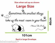 Sometimes the Smallest Things .. Winnie The Pooh Quote Wall Sticker Removable