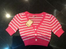 NWT Juicy Couture New Girls Age 8 Pink & White  Cotton Cardigan With Heart Logo