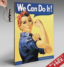 RETRO WE CAN DO IT POSTER - THICK CARD BOARD A4 - VINTAGE WOMEN WALL ART DECOR