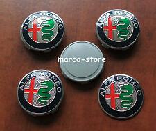 4 Tappi Coprimozzo ALFA ROMEO 147 156 GT MITO 50mm Fregi Cerchi in Lega Borchie