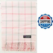 FREE SHIPPING 2PLY 100% Cashmere Scarf Pink Grey Scotland Wool Check Plaid Wrap