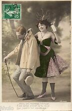 BK720 Carte postale Photo vintage card RPPC couple fantaisie Humour funny