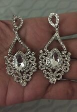 "2.5"" Clear Crystal Pageant White Silver Long Rhinestone Bridal Earrings"