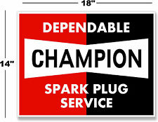 "(CHAMP-1) 18"" CHAMPION SPARK PLUG DECAL SIGN MAN CAVE STATION GASOLINE PUMP"