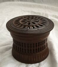 Vintage Switzerland Round Wood Hand Carved Jewelry/Tobacco/Coin Covered Box
