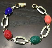 Weiss Scarab Beetle Bracelet Vintage Agate Gold-tone Signed RARE