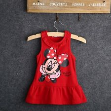 Girls Baby Toddler Disney Minnie Mouse Summer Dress Tunic Red Pink