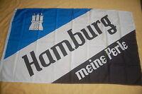 Hamburg Meine Perle Fussball blau weiß schwarz Flagge 90 x 150 cm