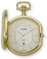 Gotham Men's Gold-Tone Swiss Quartz Date Movement Pocket Watch # GWC14044GA