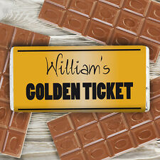 Your Very Own Golden Ticket Chocolate Bar - Personalised Willy Wonker Style Bar