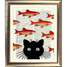 ART PRINT ON ORIGINAL ANTIQUE BOOK PAGE Picture Dictionary Vintage Cat gold fish
