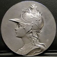 ANTIQUE FRENCH MEDAL MARIANNE ROOSTER HELMET 1910