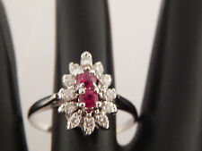 14k White Gold  Diamond Halo High Grade Ruby Designer Ring .61 tcw F/SI2 Estate