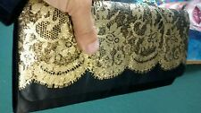 mod clutch purse cocktail black satin lace  printed Gold EVENING BAG deco clutch
