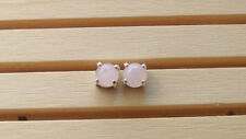 5mm Rose Quartz Round Cabochon 92.5% Pure Real Silver Stud Earring