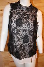 Coast top, Lace with lining, size 12, with appliqués flowers, Black.