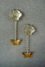 Ola Gorie Silver & 9ct Yellow Gold Flowerland Earrings Rose Butterfly Scottish