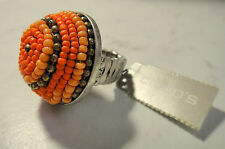 Chico's Dome Shaped Seed Bead Vesper Stretch Ring Fits 7-9 Peach Orange Tones