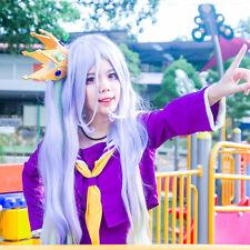 NO GAME NO LIFE Shiro Cosplay Wig 100CM Lolita Mix Multi-color Clip Ponytail