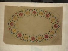 Antique Arts & Crafts Embroidery Royal Society Stencil Design Table Oval Runner