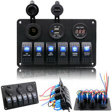 12V 24V Boat Marine Waterproof 6 Gang LED Rocker Switch Panel Circuit Breaker