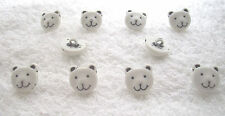 White Teddy Face Novelty Buttons x 10