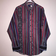 MENS VINTAGE WRANGLER RODEO WESTERN NATIVE SOUTHWEST WESTERN L/S SHIRT 17 35 L