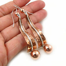 Long Designer 925 Sterling Silver and Copper Ball Bead Drop Earrings