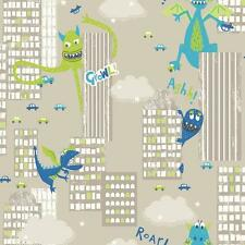 ARTHOUSE MONSTER MADNESS CITY DRAGON DINOSAUR CHILDRENS WALLPAPER GREEN TAUPE