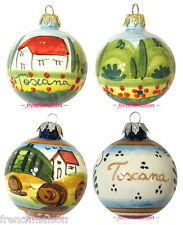 2 Italian Hand Painted Tuscan CHRISTMAS TREE ORNAMENT Handmade Ceramic Gift New