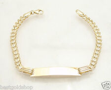 """6"""" Kids Childrens Bumble Bee ENGRAVABLE ID BRACELET REAL 10K Yellow GOLD"""