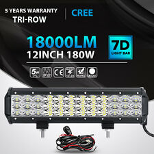 7D CREE 12Inch 180W Led Light Bar Spot Flood Offroad 4WD SUV ATV Jeep Truck 14""