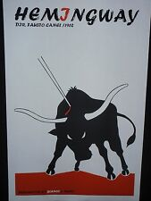 HEMINGWAY Cuban Silkscreen Movie Poster / Bullfighting Art / Havana CUBA / Spain