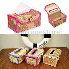 Handmade Chinese Bamboo Flower Tissue Box Napkin Cover Holder Toilet Paper Case