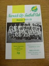 12/02/1972 Norwich City v Millwall  (Item In Good Condition)