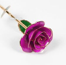 "Violet Real Rose Dipped In 24k Gold 11"" for Valentine's Day Gift Home Decoration"