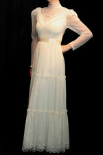 XS NOS CREAM SHEER LACE VTG 70s ROMANTIC VICTORIAN HIPPIE Edwardian MAXI DRESS