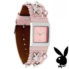 Playboy Watch Bunny Logo Pink Swarovski Crystals Braided Leather Band RARE HTF