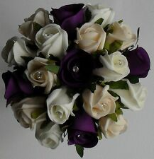 Brides Crystal Diamante Wedding Purple Silk Rose Ivory Cream Flower Bouquet