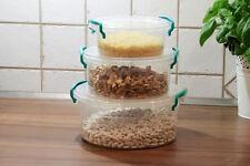 Lebensmittel Kunstoffbehälter Plastikdose Vorratsdosen 3Set (0,6+1,2+2,1l)