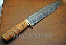 "DB11 ~ 12"" USA Custom BOWIE Damascus ELK HUNTER KNIFE W/ LEATHER SHEATH - USA"