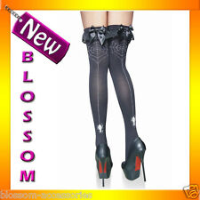 79043 Black Spider Web Lace and Bow Top Thigh Highs Stockings Halloween Costume