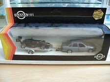Gama Opel Vectra + Trailer + Lotus in Blue/Black on 1:43 in Box